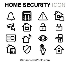 Vector line home security icons set