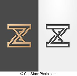 Vector line hourglass logo, sign, icon. Isolated, expanded.