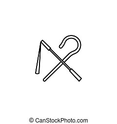 vector line icon - Egyptian rod and whip icon in line style....