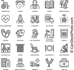 Vector line icon of senior and elderly care. Nursing home - old people, wheelchair, leisure, hospital call button, medicines. Linear pictograms with editable stroke for sites, brochures.
