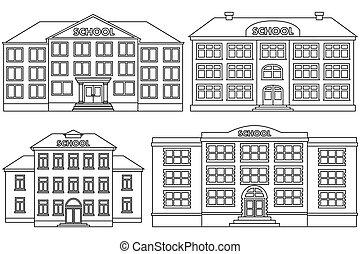 Vector line icon set school buildings.