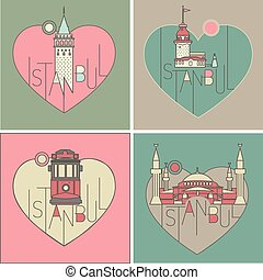 vector line icon style illustrated istanbul landmarks set