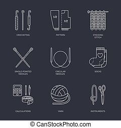 Vector line icons collection of knitting and crochet. Hand made elements -yarn, knitting needle, knitting hook, pin. Outline knitting symbol collection for invitations, notes, sites, banner