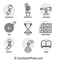 vector line icons of concepts like discovery, innovation,...