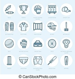 Vector line icons of cricket sport game. Ball, bat, wicket, helm
