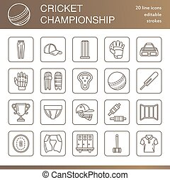 Vector line icons of cricket sport game. Ball, bat, wicket, helmet, batsman gloves. Linear signs set, championship pictograms with editable stroke for event, equipment store