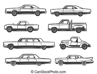 Vector line icons of retro cars and vintage auto - Retro...