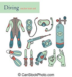 Vector line icons with diving equipment.