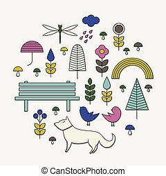 Vector line icons with nature, animals.