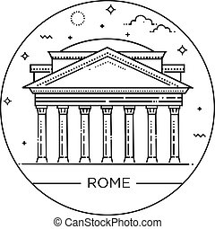 Vector line illustration of Pantheon, Rome, Italy