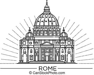 Vector line illustration of St. Peter s Basilica, Rome, Italy.