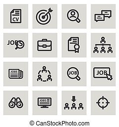 Vector line job search icons set