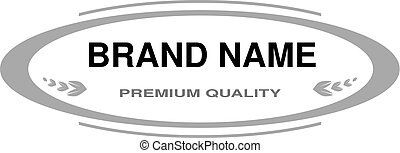 Vector line label. Oval frame for Brand name. Monochrome...