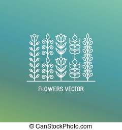 Vector line logo and emblem with flowers