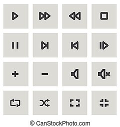 Vector line media player icons set