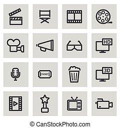 Vector line movie icons set