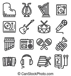 vector line music icons set