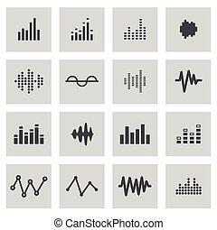 Vector line music soundwave icons set