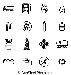 Vector line natural gas icon set on white background