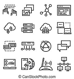 Vector line Network icons set
