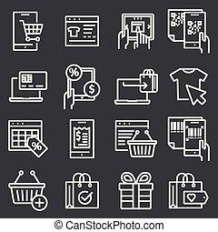 Vector line online shopping,e-commerce icons