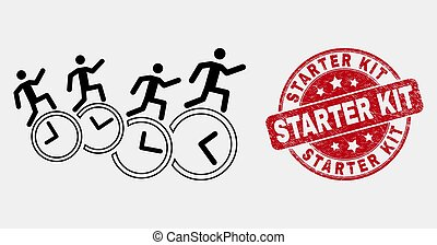 Vector Line People Run Over Clocks Icon and Scratched Starter Kit Watermark