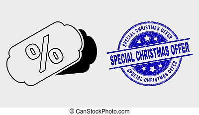 Vector Line Percent Tags Icon and Distress Special Christmas Offer Seal