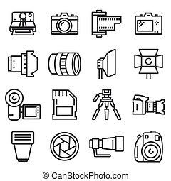 vector line photo icons set