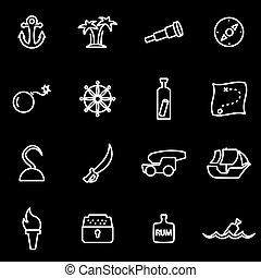 Vector line pirate icon set