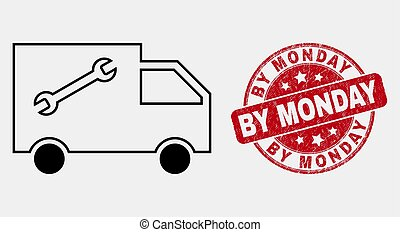 Vector Line Service Van Icon and Grunge By Monday Stamp