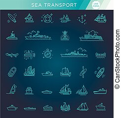 vector line set of ships and boats - Ships - set of modern...