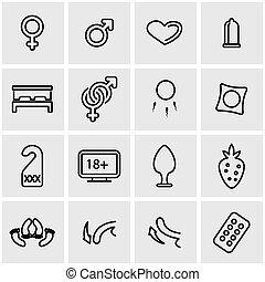 Vector line sex icon set