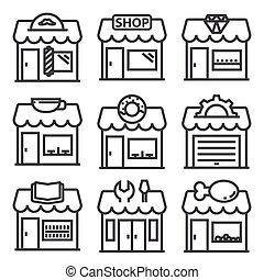 Vector line shop icon set