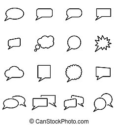 Vector line speach bubbles icon set on white background