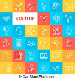 Vector Line Startup Icons