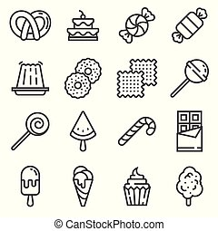 Vector line Sweets and candy icon set.