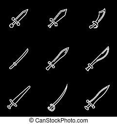 Vector line sword icon set