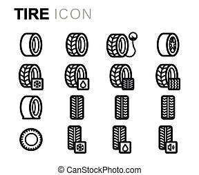 Vector line tire icons set
