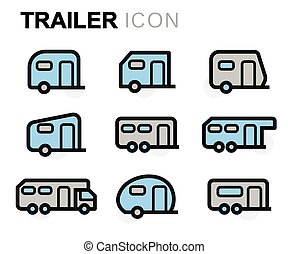 Vector line trailer icons set