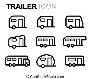 Vector line trailer icons set on white background