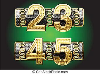 line up golden figures made in vector