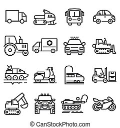 Vector line vehicles icons set