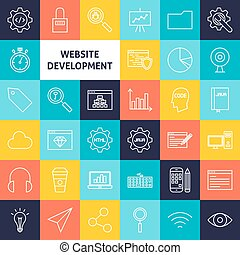 Vector Line Website Development Icons