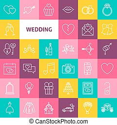 Vector Line Wedding Icons