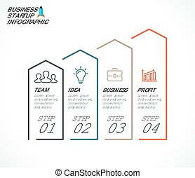 Vector linear arrows infographic, diagram chart, graph presentation. Business concept with 4 options, parts, steps, processes.