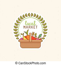 Vector linear badge - local market - label illustration with...