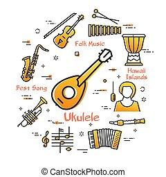 Vector linear banner for music - hawaiian guitar - ukulele...