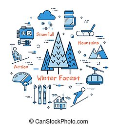 Vector linear blue round concept of Winter forest