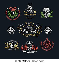 Vector linear design Christmas greetings elements vector collection.
