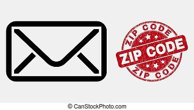 Vector Linear Envelope Icon and Grunge Zip Code Watermark